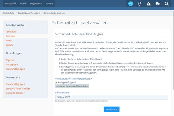 Einrichtung des WebAuthn-Verfahrens
