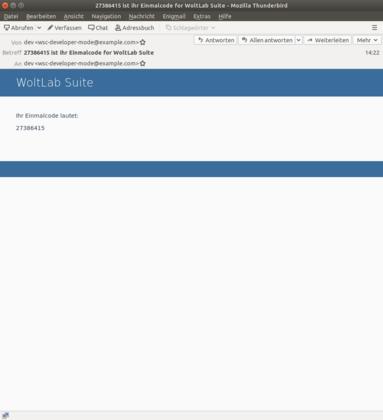 Beispiel für Einmalcode per E-Mail